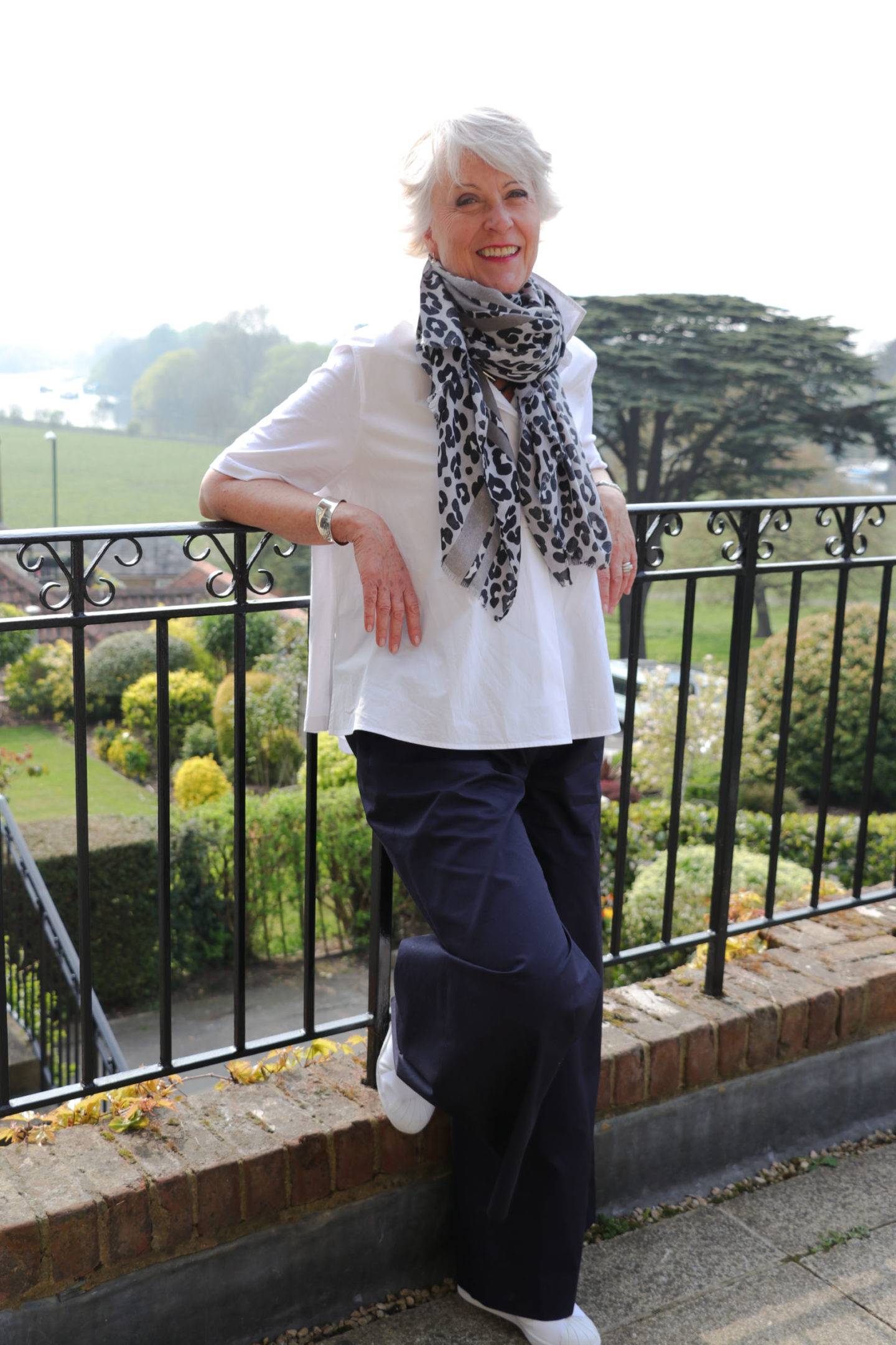White shirt, wide trousers & leopard scarf