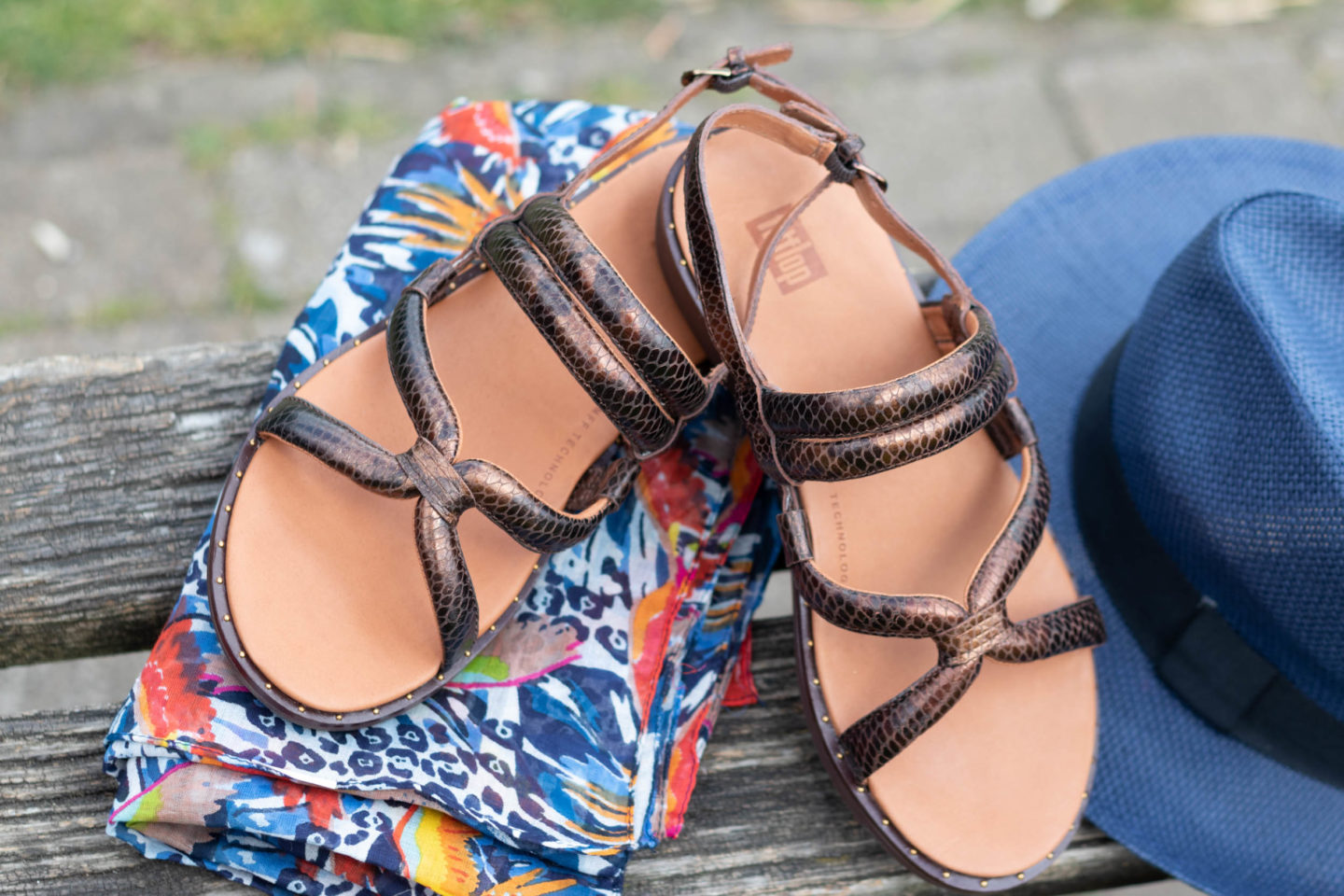 Fit flop sandals and print scarf