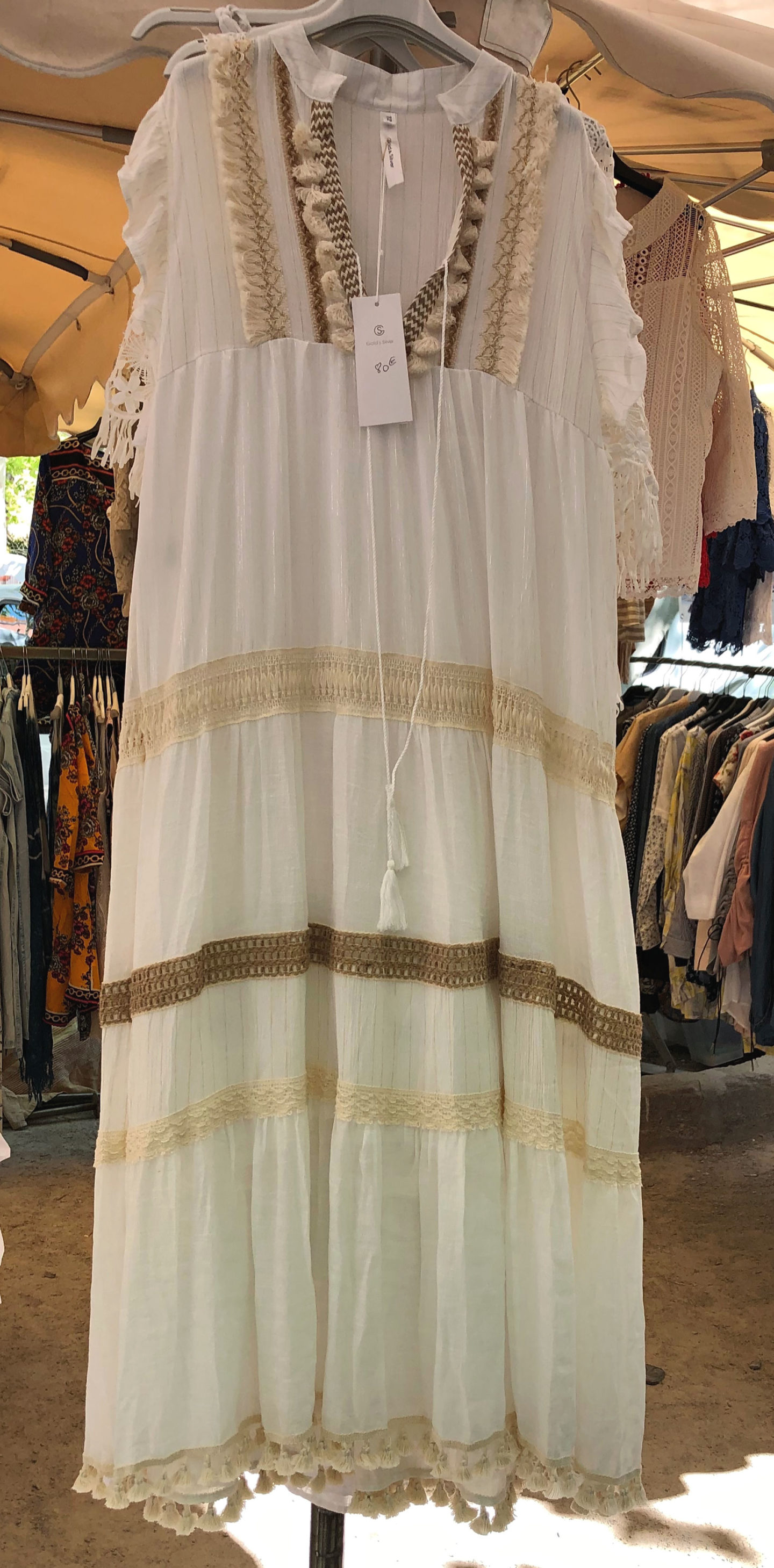 Long cream kaftan