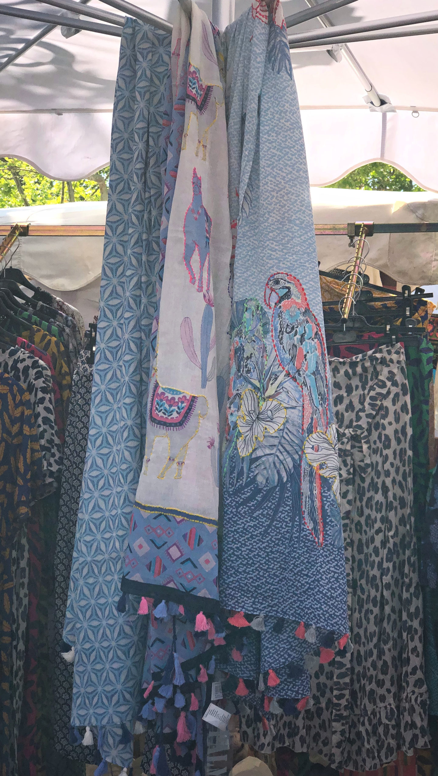 Large cotton print scarves