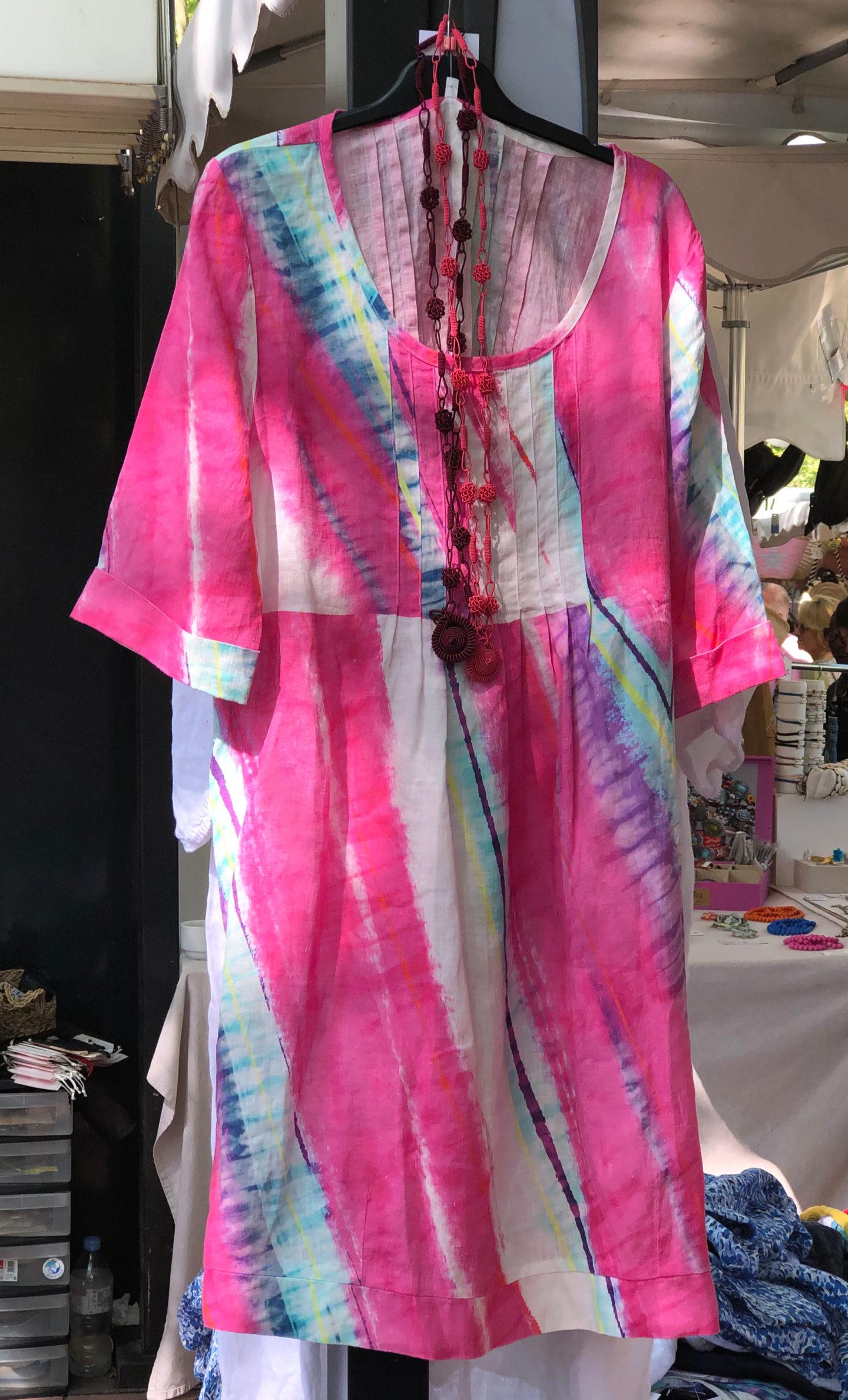 Pink linen kaftan