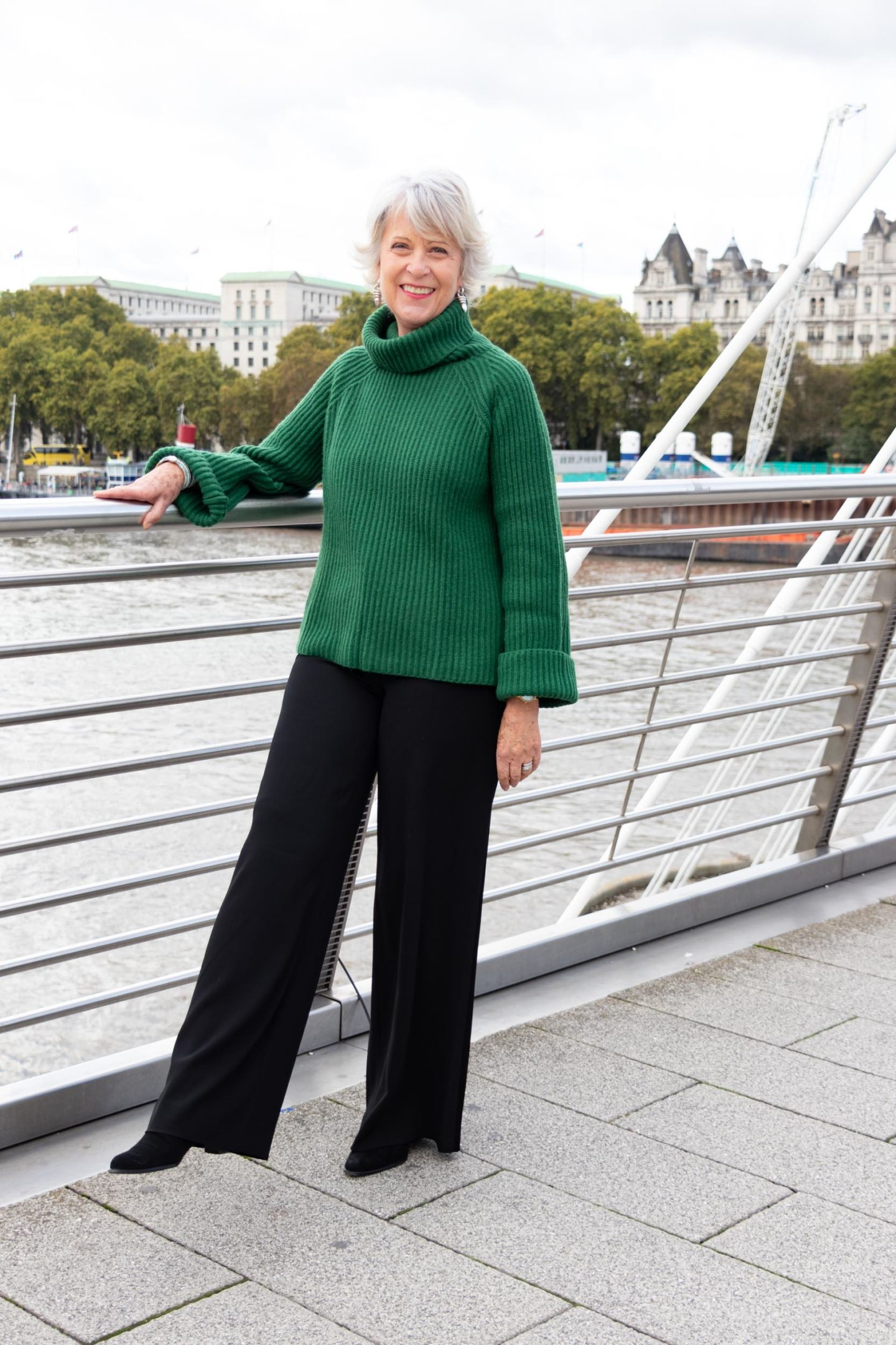 Green wool sweater and wide leg trousers