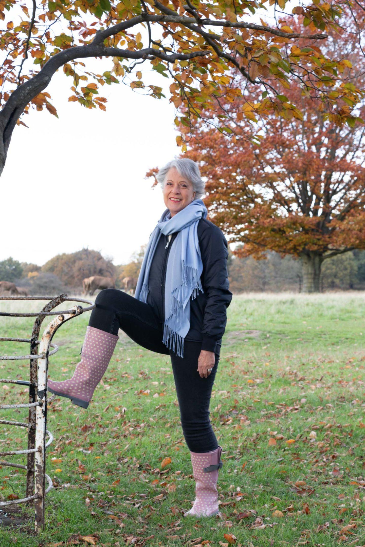 Wide calf wellingtons. Blue/grey wool scarf