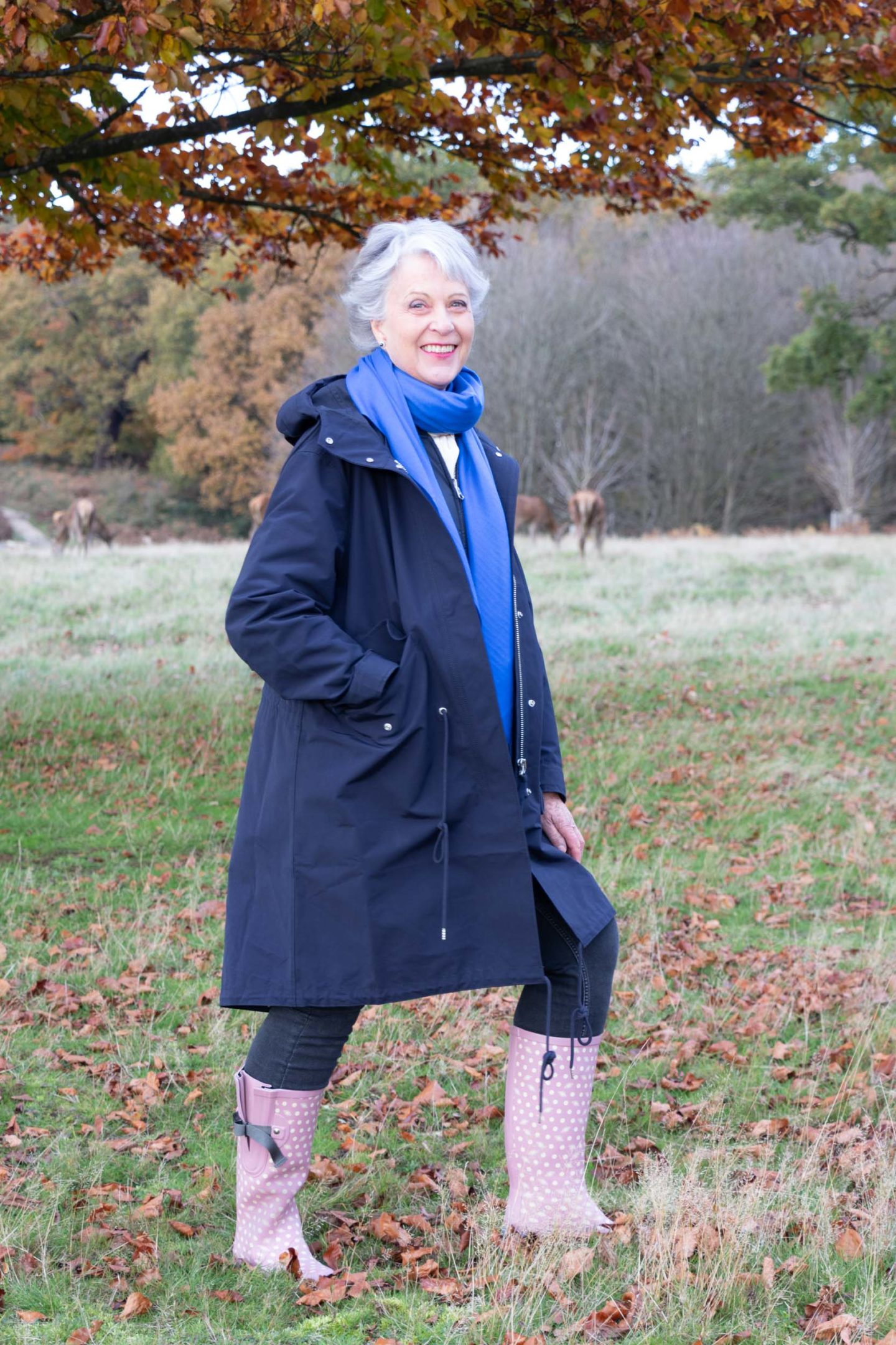 Cashmere scarf and blue parka. Wellingtons