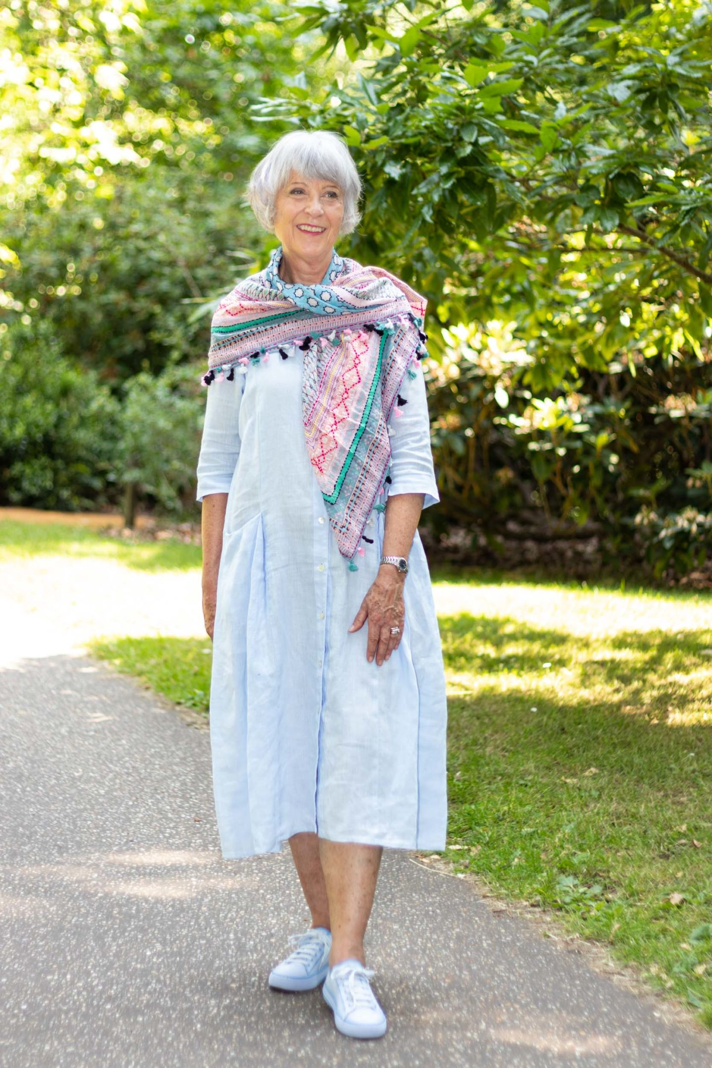 Blue linen dress and scarf
