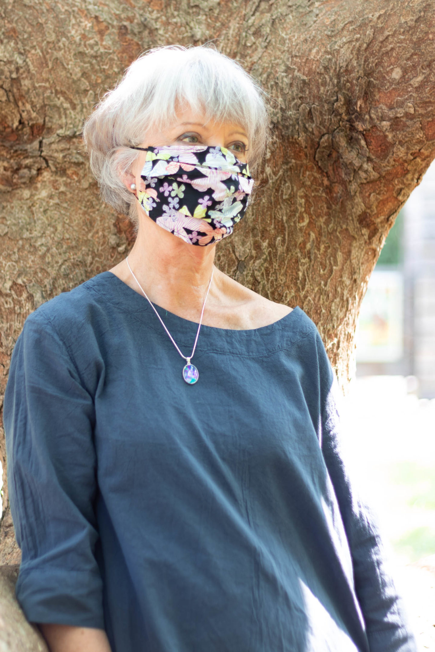 Cotton floral face mask and pendant