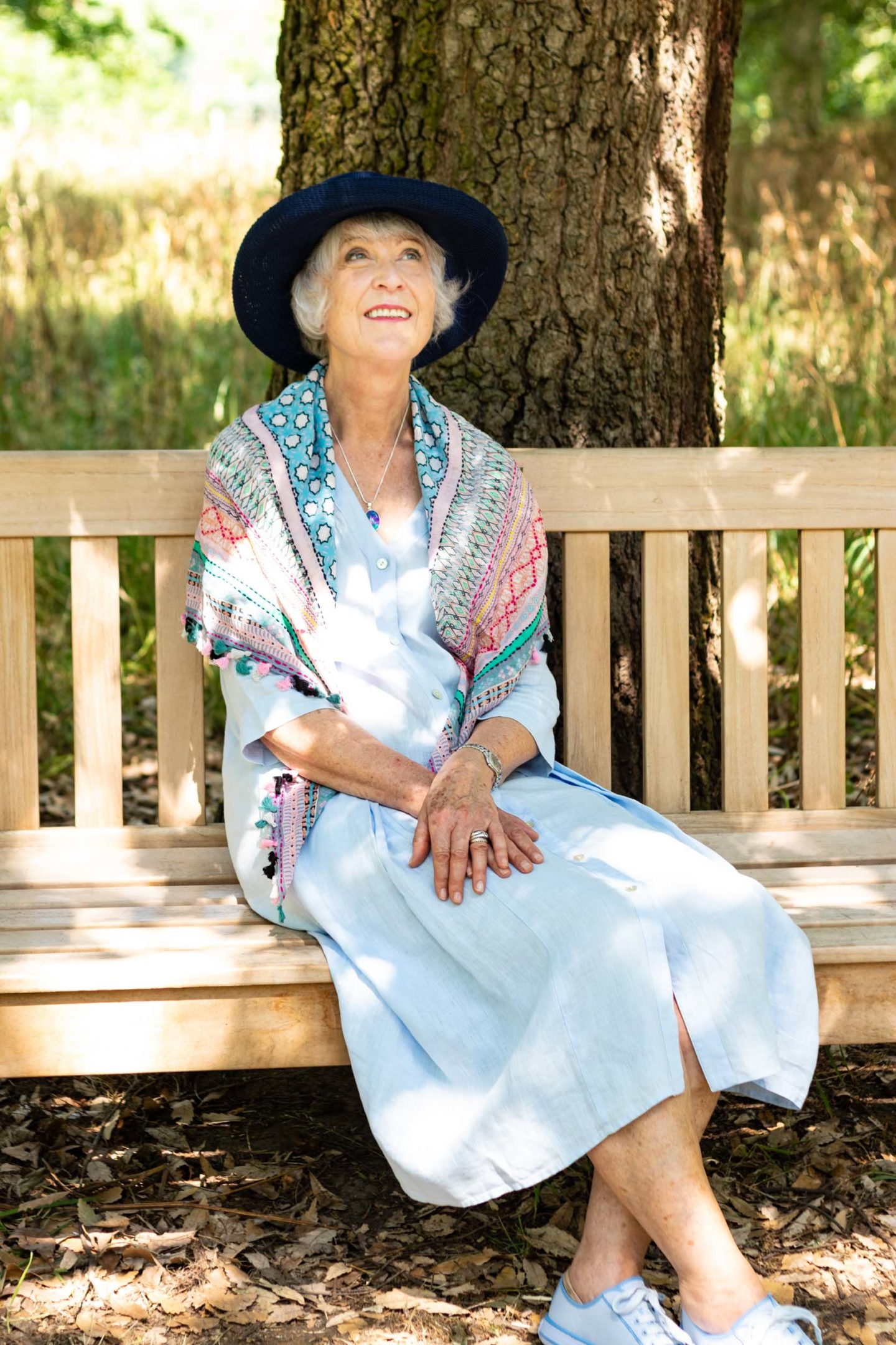 Blue linen dress, scarf and sun hat
