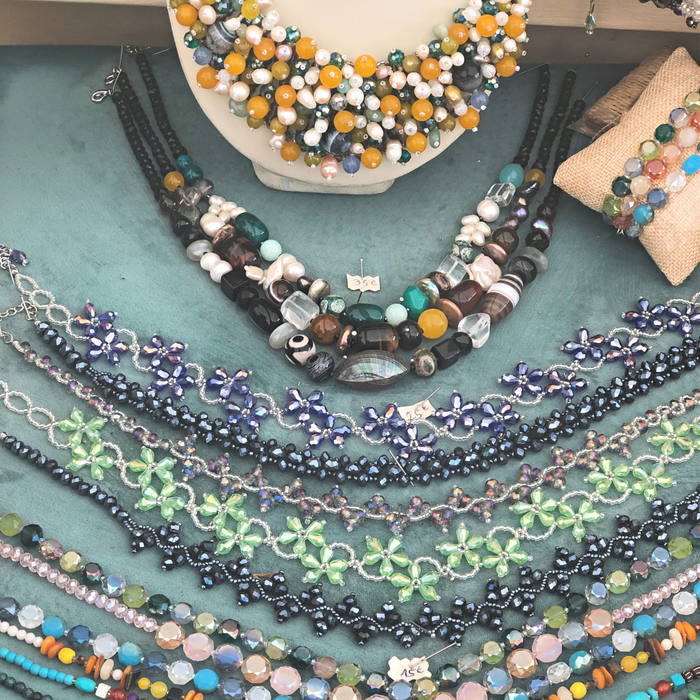 Necklaces in Grimaud market