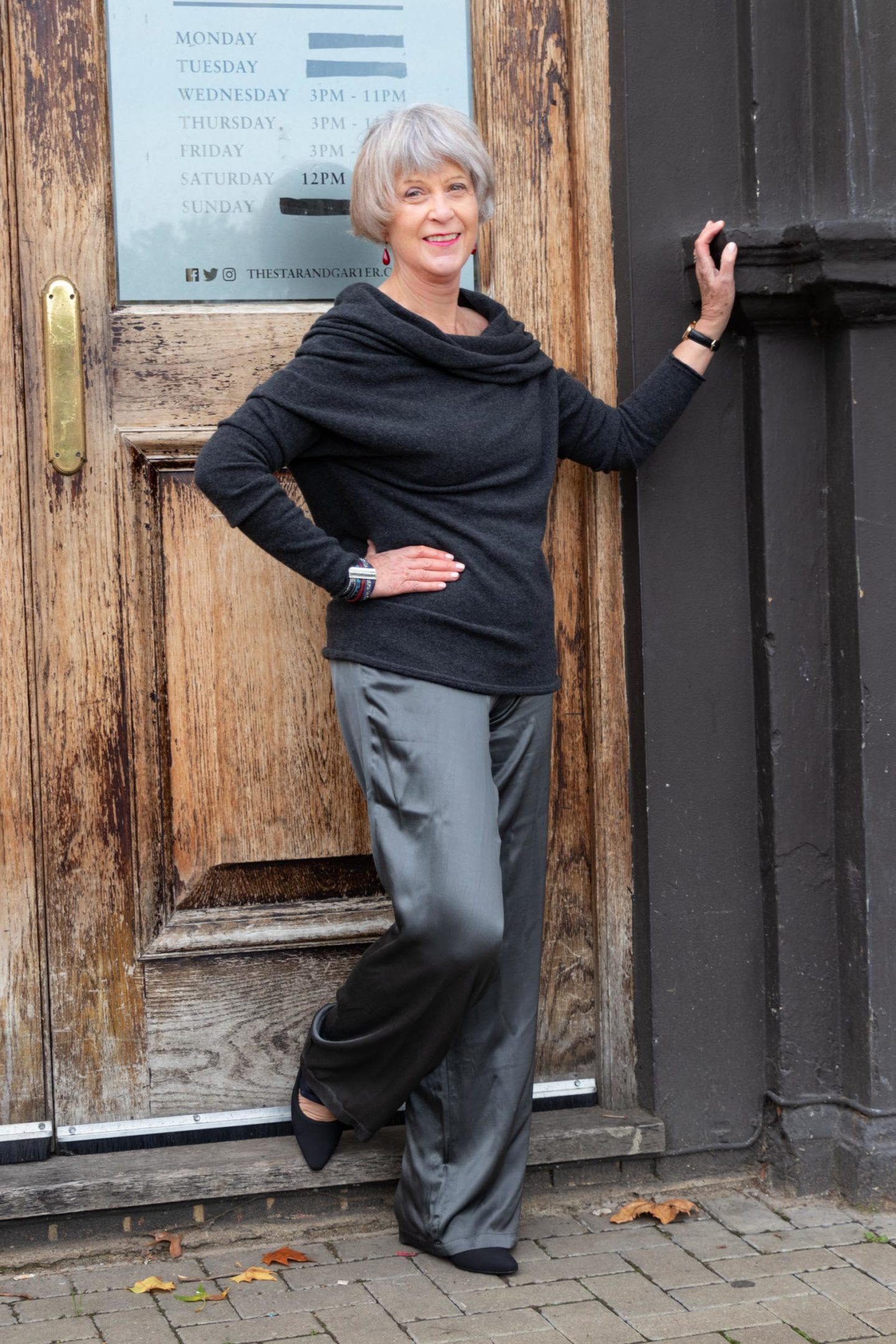 Cashmere bland sweater and grey satin trousers by Hopefashionuk