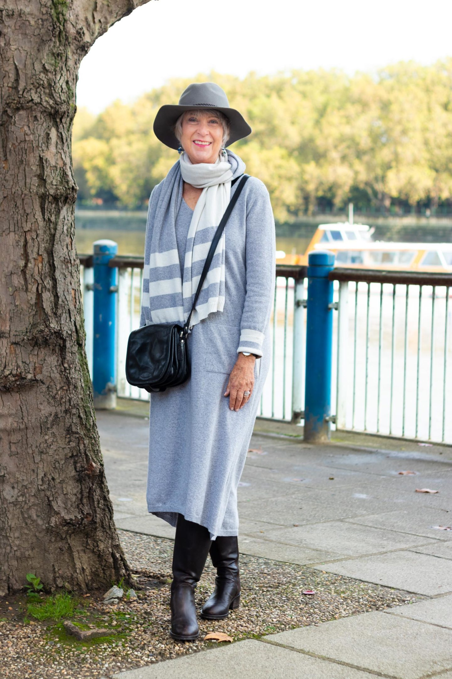 Grey cashmere blend dress and scarf