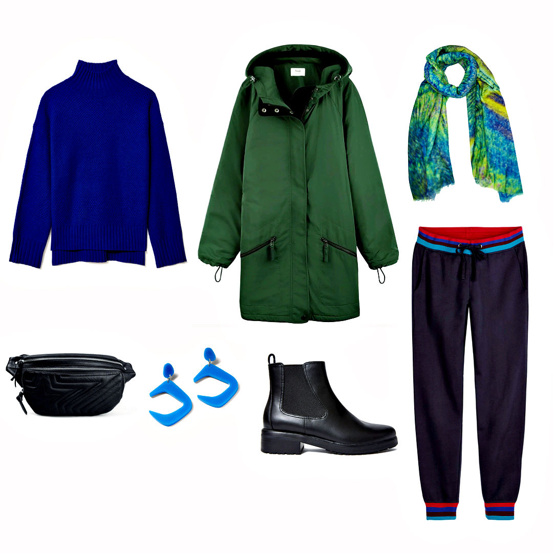 Green parka, joggers, sweater and boots.