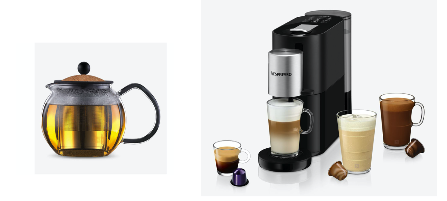 Tea pot and Nespresso coffee matching