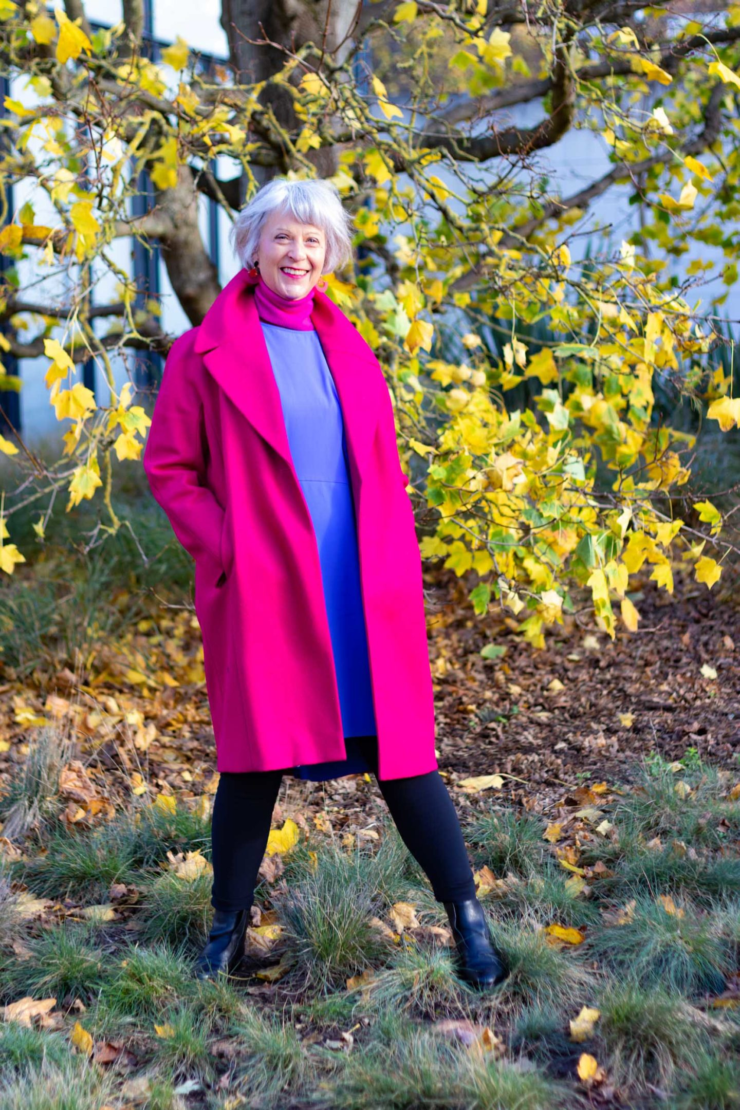 Wearing bright colours in the winter