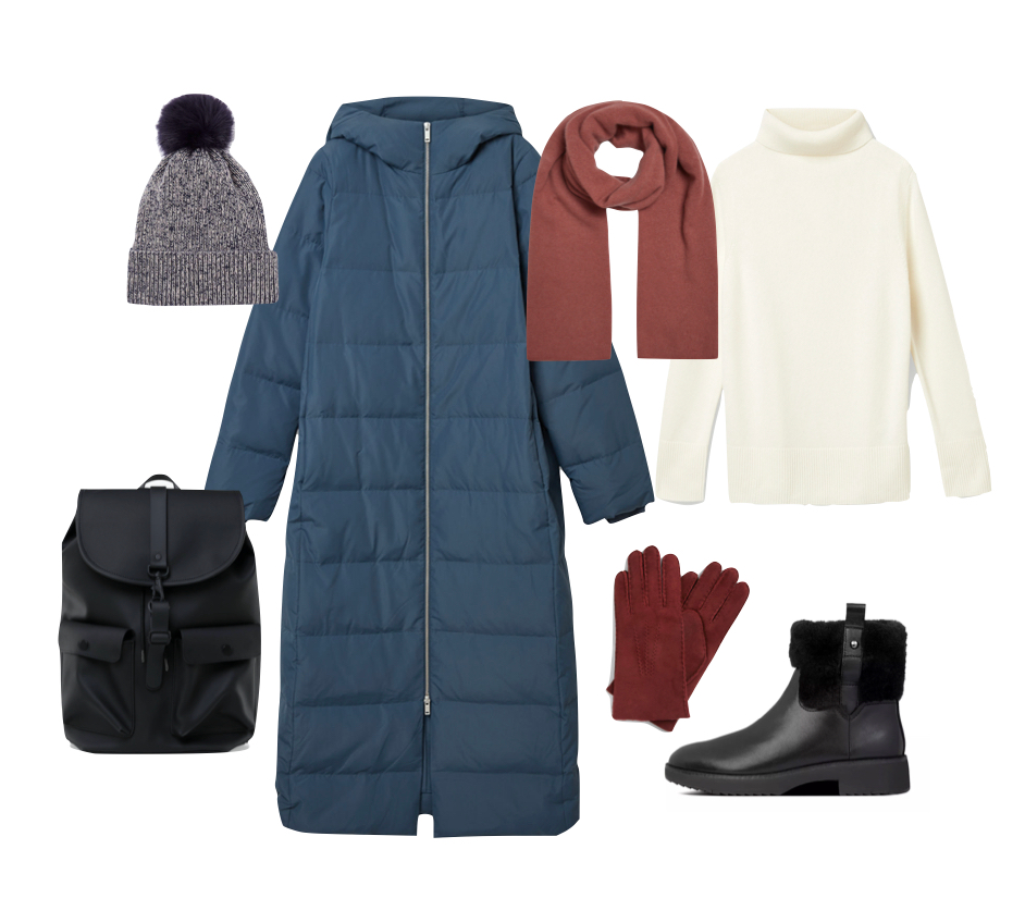 Navy puffer coat, boots, hats and scarves