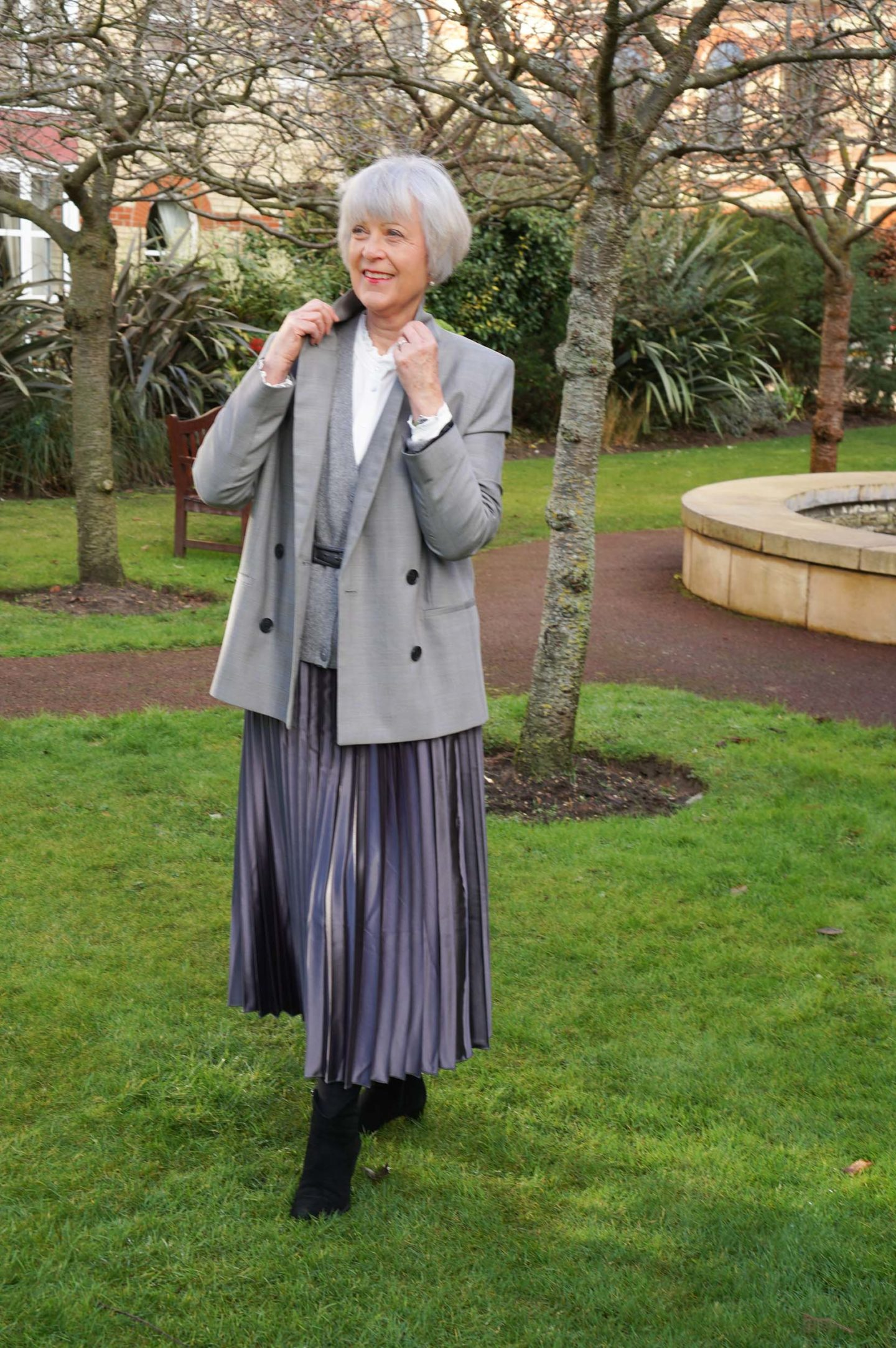 Grey pleated skirt and double breasted jacket