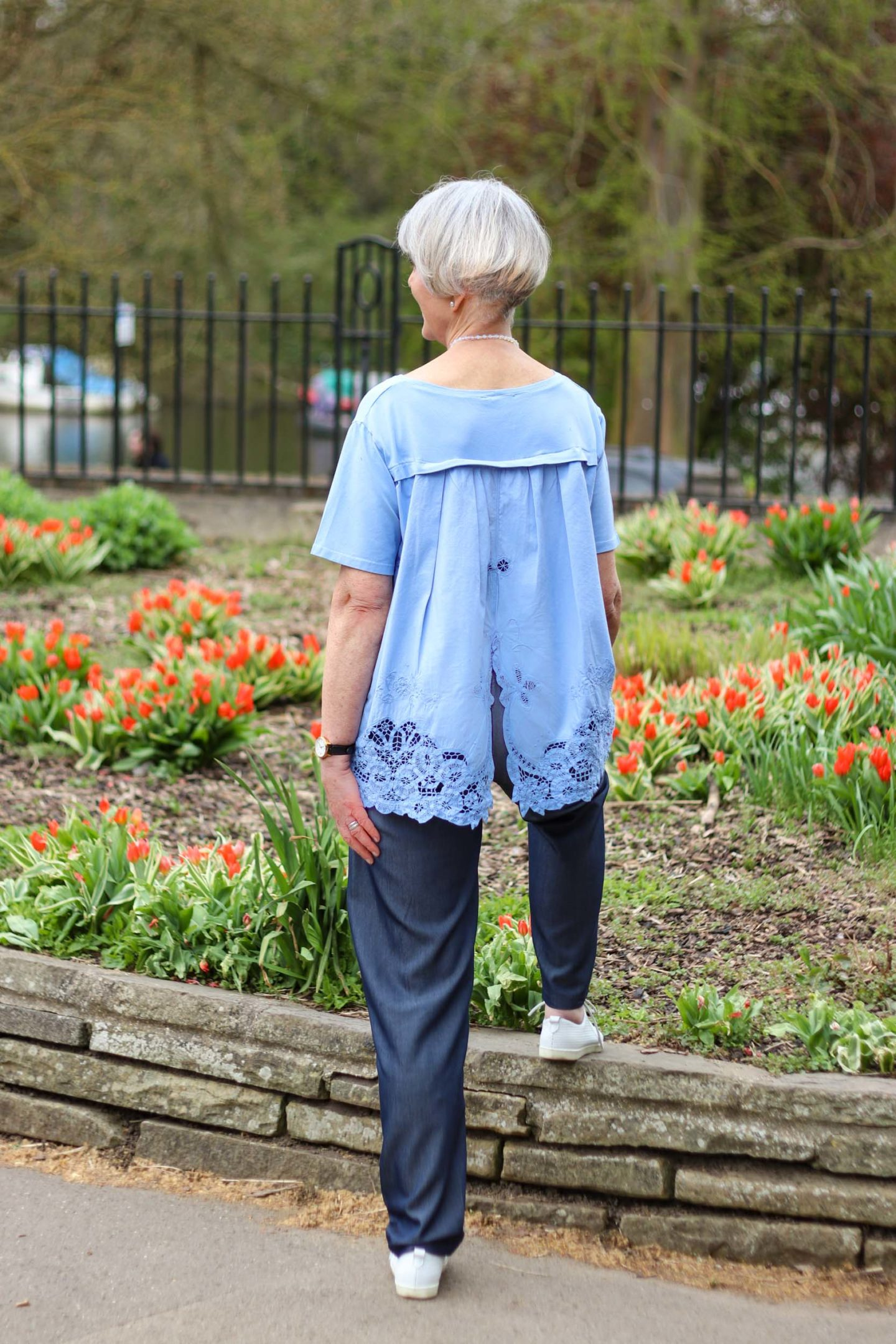 Embroidered blue top and trousers
