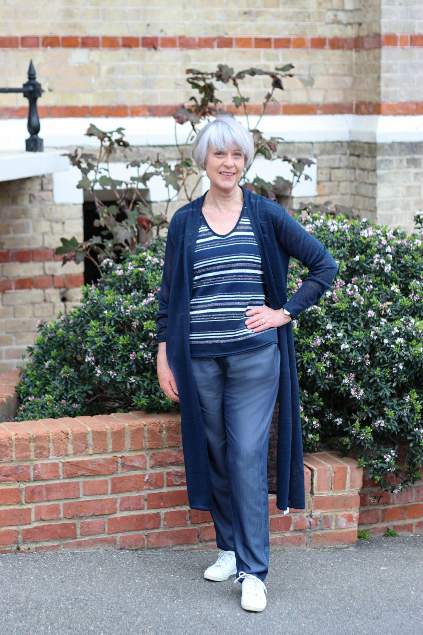 HopeFashion comfort denim trousers, lurex stripe top and linen cardigan