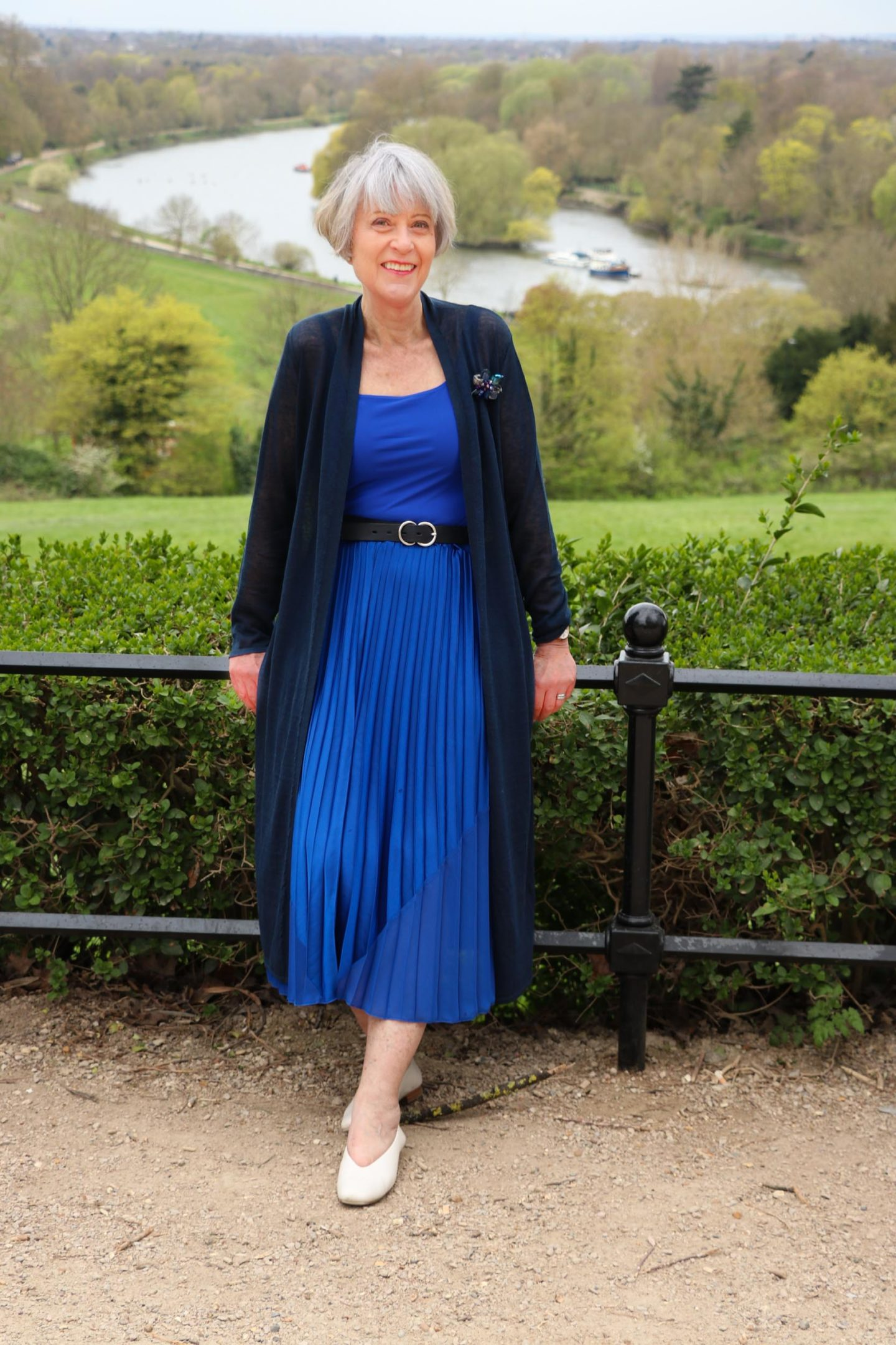 HopeFashion navy linen coat with cobalt blue pleated skirt and body