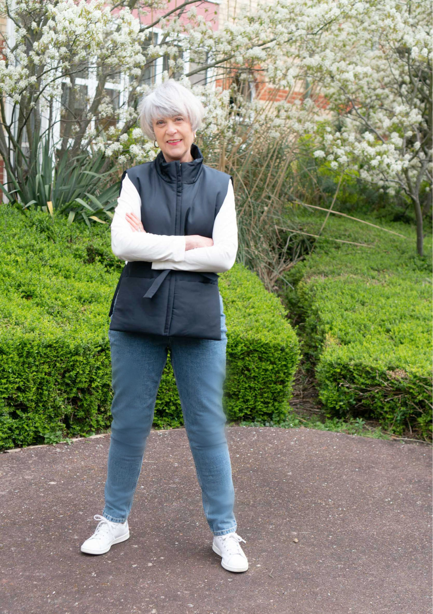 Mom jeans and padded waistcoat