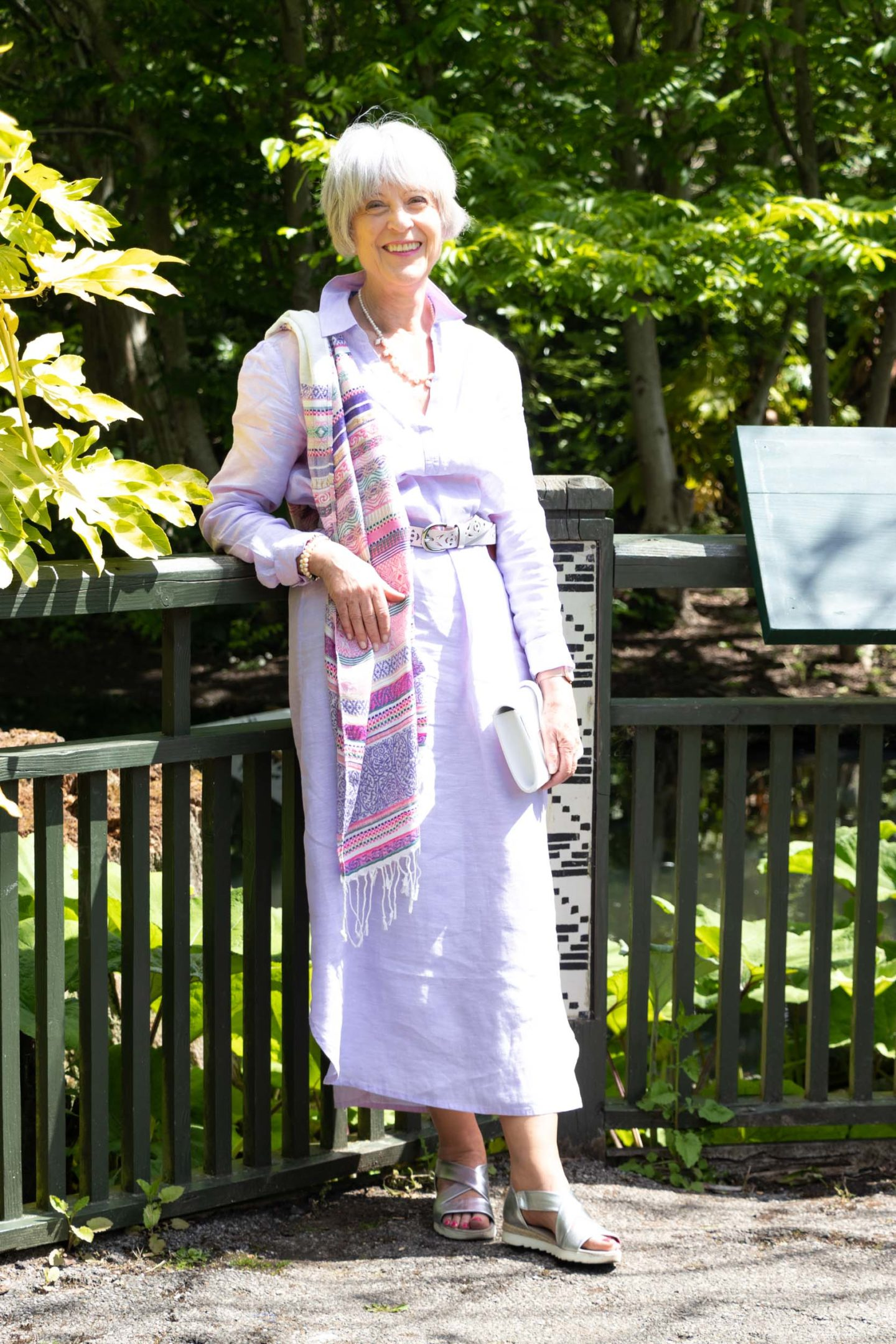 Pink linen maxi dress and scarf