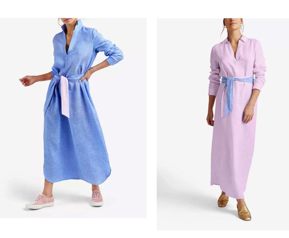 Pink and blue linen maxi dresses