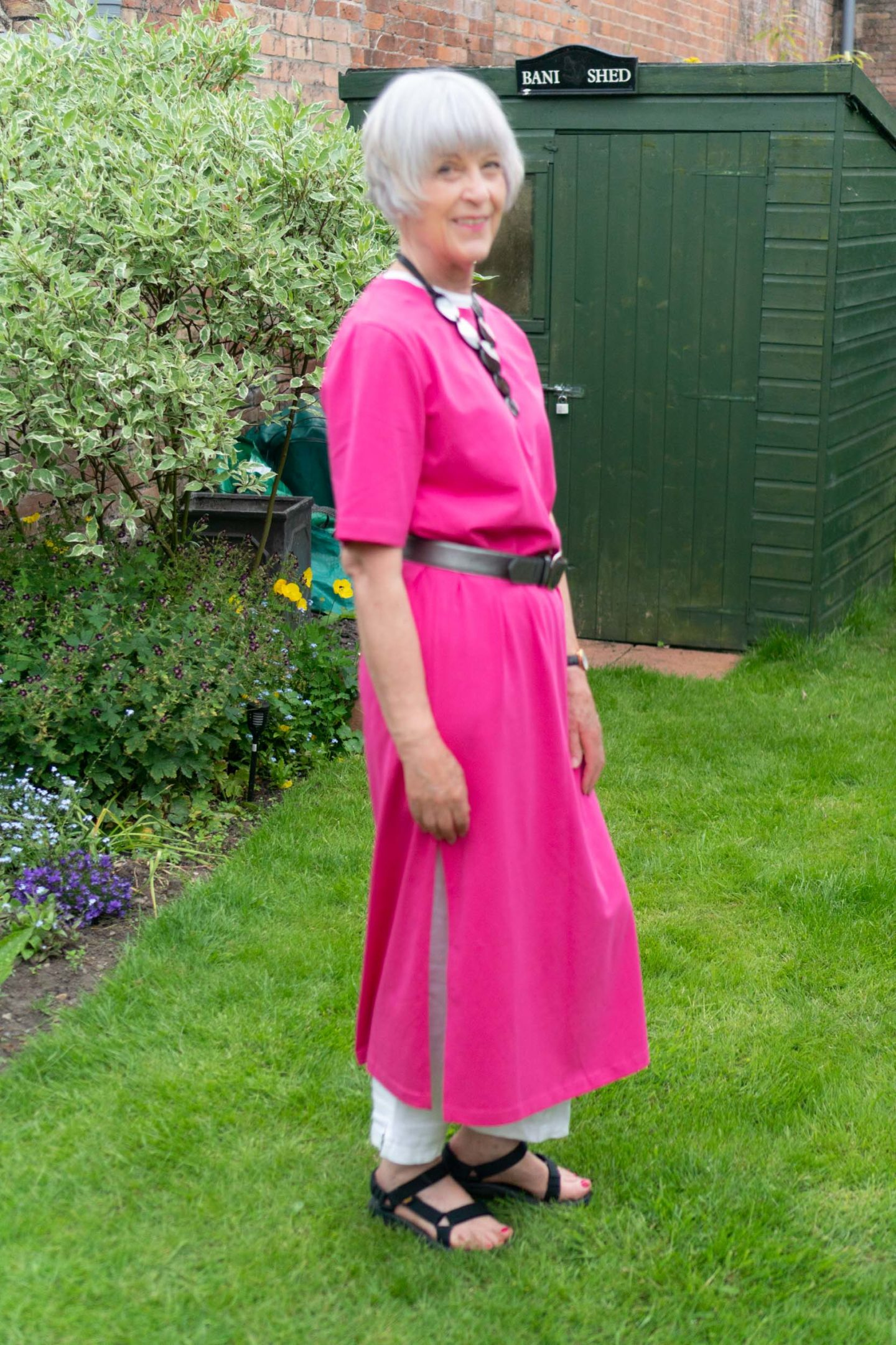 Cos pink maxi dress and white linen trousers