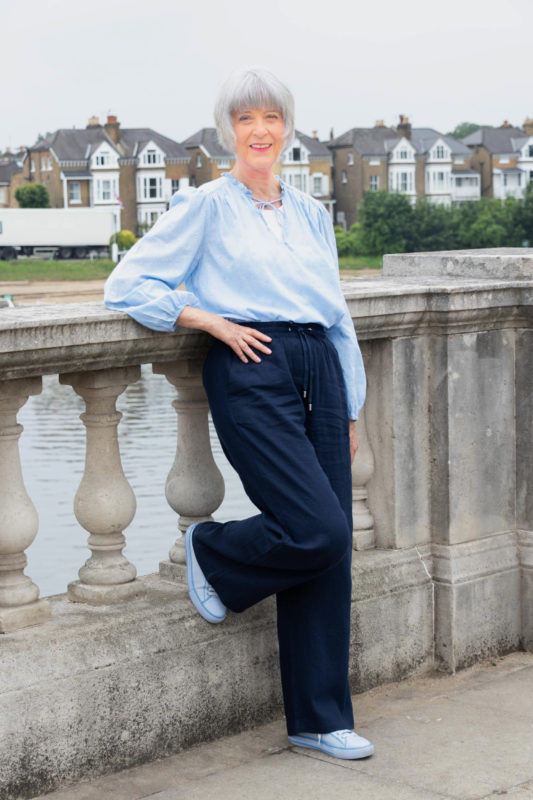 Blue blouse and navy trousers