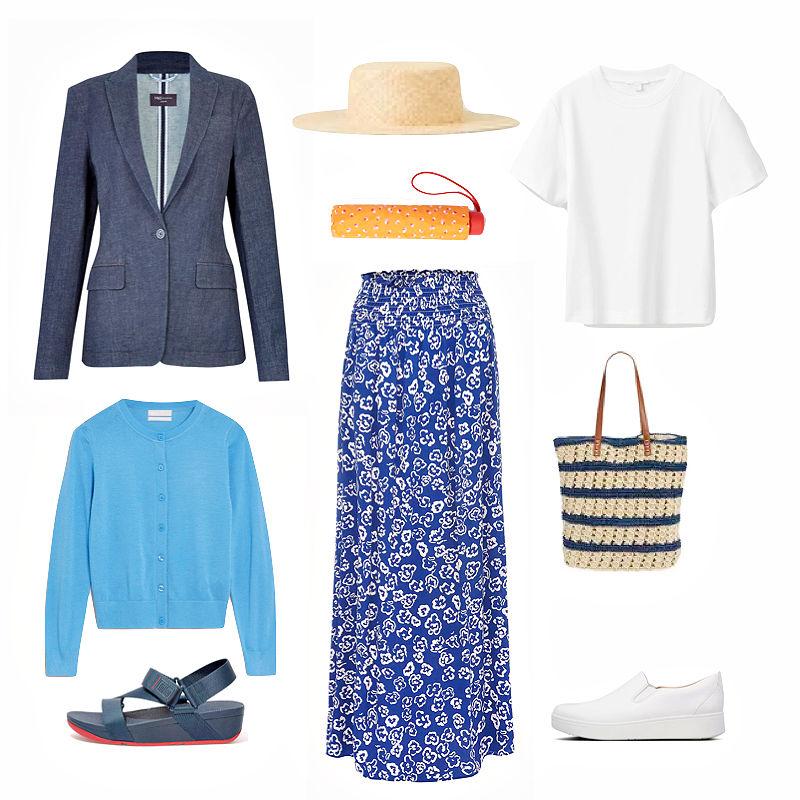 Maxi skirt, white tee and blazer