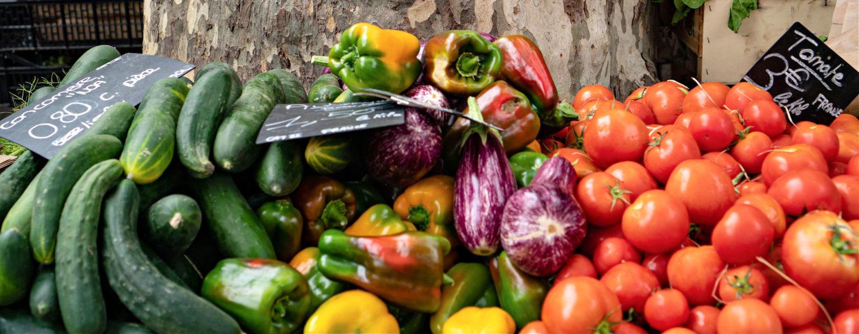 fresh vegetables in St.Tropez market