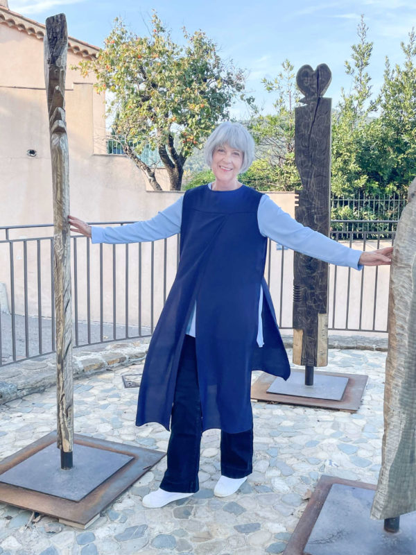 Navy tunic, blue top and wide leg trousers